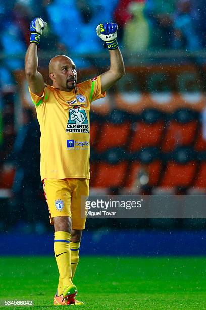 Oscar Perez goalkeeper of Pachuca celebrates a goal of his team during the Final first leg match between Pachuca and Monterrey as part of the...