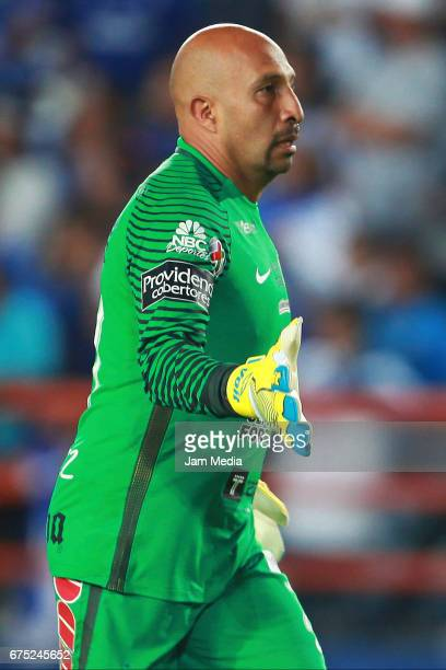 Oscar Perez goalkeeper of Pachuca celebrates after scoring the second goal of his team during a match between Pachuca and Cruz Azul as part of the...