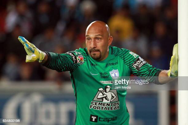 Oscar Perez goalkeeper of Pachuca gives instructions to his defenders during the 6th round match between Pachuca and Tigres UANL as part of the...