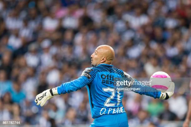 Oscar Perez goalkeeper of Pachuca in action during the 13th round match between Monterrey and Pachuca as part of the Torneo Apertura 2017 Liga MX at...