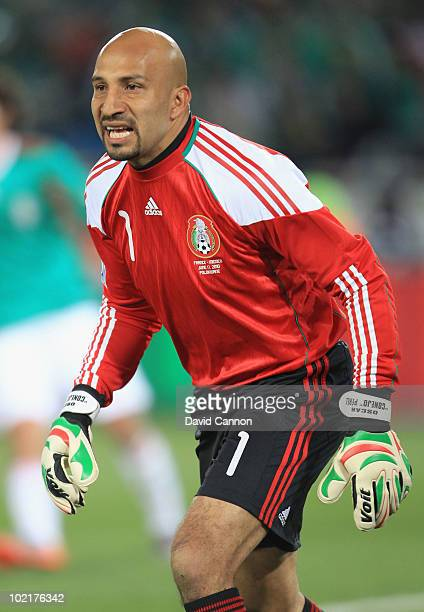 Oscar Perez of Mexico in action during the 2010 FIFA World Cup South Africa Group A match between France and Mexico at the Peter Mokaba Stadium on...
