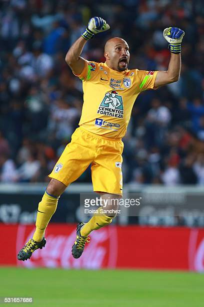 Oscar Perez of Pachuca celebrates after the scoring of the first goal of his team during the quarter finals second leg match between Pachuca and...