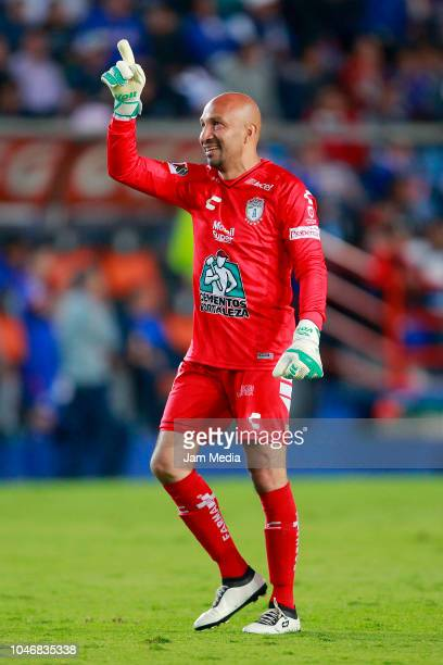 Oscar Perez of Pachuca celebrates after the second goal of his team during the 11th round match between Pachuca and Cruz Azul as part of the Torneo...
