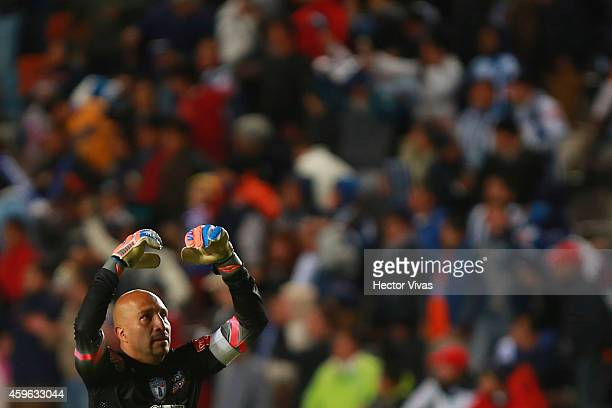 Oscar Perez of Pachuca celebrates the first goal of his team during a quarterfinal first leg match between Pachuca and Tigres as part of the Apertura...