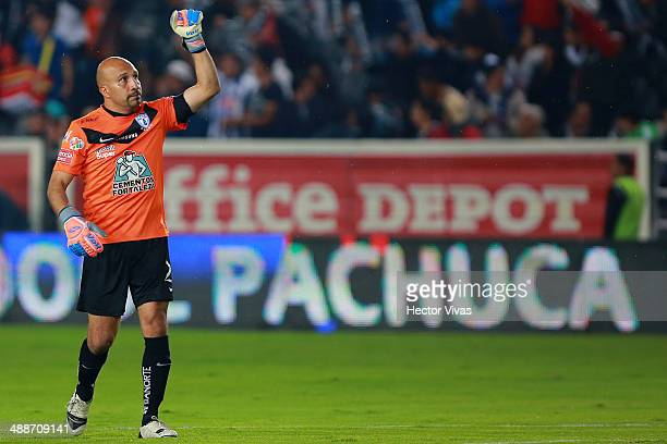 Oscar Perez of Pachuca celebrates the first scored goal of his team during the Semifinal first leg match between Pachuca and Santos Laguna as part of...