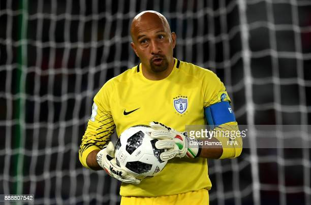 Oscar Perez of Pachuca looks on during the FIFA Club World Cup match between CF Pachuca and Wydad Casablanca at Zayed Sports City Stadium on December...