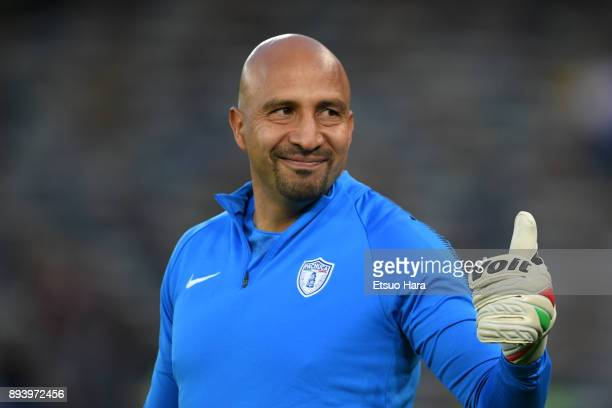 Oscar Perez of Pachuca looks on prior to the FIFA Club World Cup UAE 2017 third place play off match between Al Jazira and CF Pachuca at the Zayed...