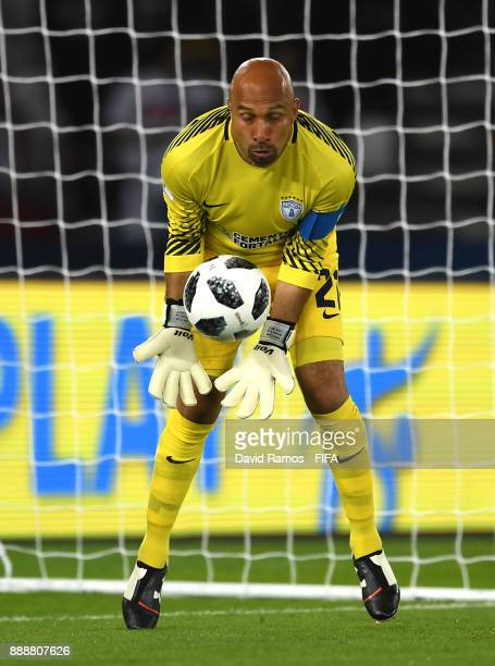 Oscar Perez of Pachuca makes a save during the FIFA Club World Cup match between CF Pachuca and Wydad Casablanca at Zayed Sports City Stadium on...