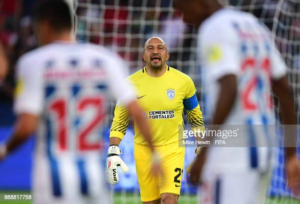 Oscar Perez of Pachuca shouts instructions during the FIFA Club World Cup match between CF Pachuca and Wydad Casablanca at Zayed Sports City Stadium...