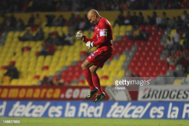 Oscar Perez of San Luis celebrates a goal during a match between Morelia and San Luis as part of the Torneo Apertura 2012 at Morelos Stadium on...