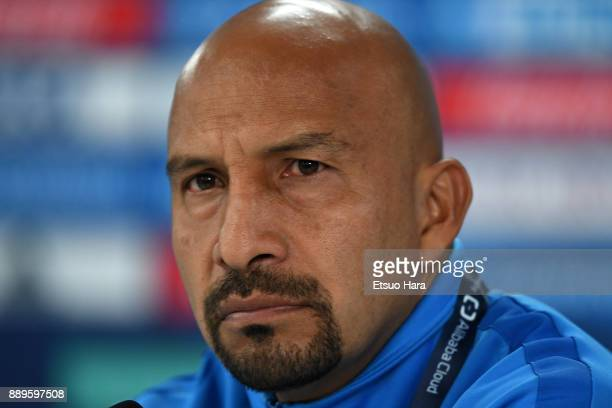 Oscar Perez Rojas of CF Pachuca attends a press conference ahead of their FIFA Club World Cup UAE 2017 match against Wydad Casablanca at the Zayed...