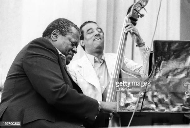 Oscar Peterson performs with Ray Brown during the Berkeley Jazz Festival at the Greek Theatre in May 1978 in Berkeley California