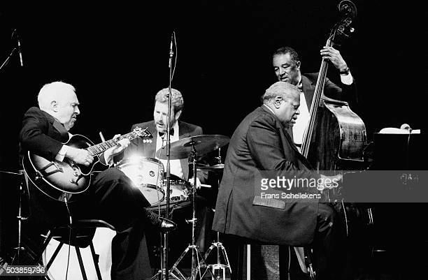 Oscar Peterson piano performs with Herb Ellis guitar and Ray Brown bass on July 12th 1991 at the North Sea Jazz Festival in the Hague the Netherlands