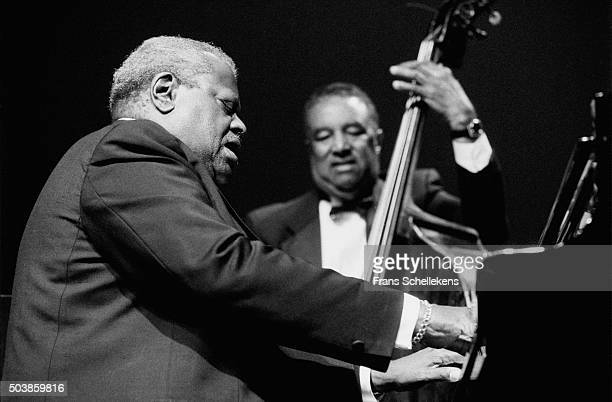 Oscar Peterson, piano, performs with Ray BROWN, bass, on July 12th 1991 at the North Sea Jazz Festival in the Hague, the Netherlands.