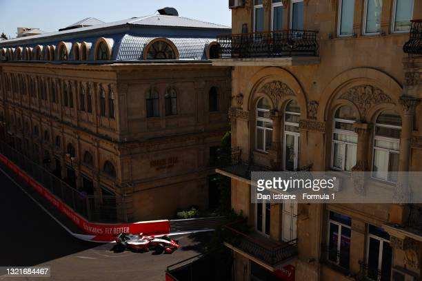 Oscar Piastri of Australia and Prema Racing drives on track during qualifying ahead of Round 3:Baku of the Formula 2 Championship at Baku City...