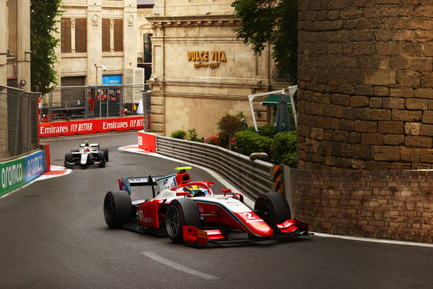 Oscar Piastri of Australia and Prema Racing drives on track during the feature race of Round 3:Baku of the Formula 2 Championship at Baku City...