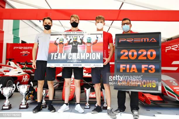 Oscar Piastri of Australia and Prema Racing, Frederik Vesti of Denmark and Prema Racing, Logan Sargeant of United States and Prema Racing and the...