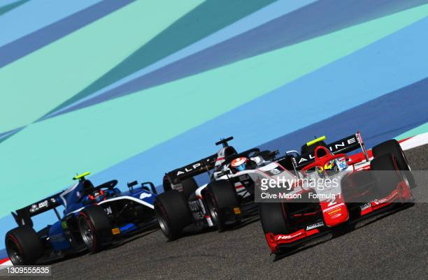 Oscar Piastri of Australia and Prema Racing leads Christian Lundgaard of Denmark and ART Grand Prix during the Feature Race of Round 1:Sakhir of the...