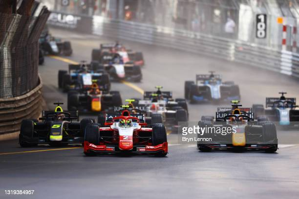Oscar Piastri of Australia and Prema Racing leads the field into turn one at the start during Sprint Race 2 of Round 2:Monte Carlo of the Formula 2...