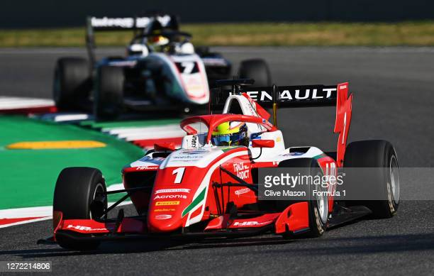 Oscar Piastri of Australia and Prema Racing leads Theo Pourchaire of France and ART Grand Prix during the Formula 3 Championship Second Race at...