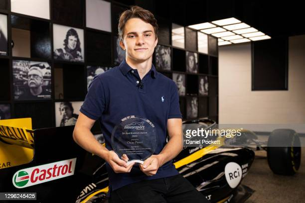 Oscar Piastri poses for a photograph with the 2020 Sir Jack Brabham award during a media opportunity at Motorsport Australia House on January 14,...
