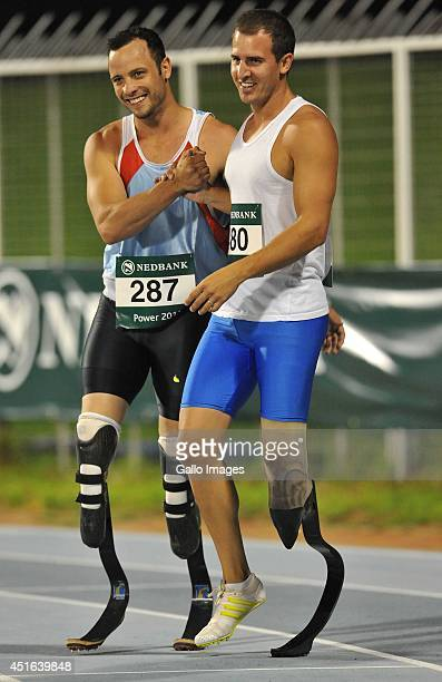 Oscar Pistorius and Arnu Fourie during day 3 of The Nedbank National Championships for the Physically Disabled from Olympia Park Stadium on March 28...