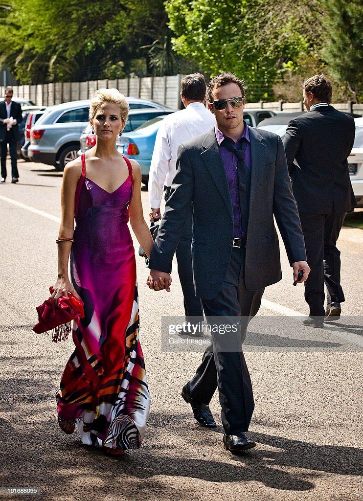 Oscar Pistorius And Girlfriend Melissa Rom Arrive At The Sorex Estate : News Photo