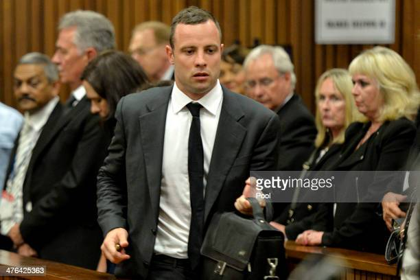 Oscar Pistorius and June Steenkamp at the Pretoria High Court on March 3 in Pretoria, South Africa. Pistorius, stands accused of the murder of his...