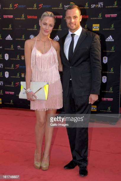 Oscar Pistorius and Reeva Steenkamp at the Feather Awards on November 4 2012 in Johannesburg South Africa
