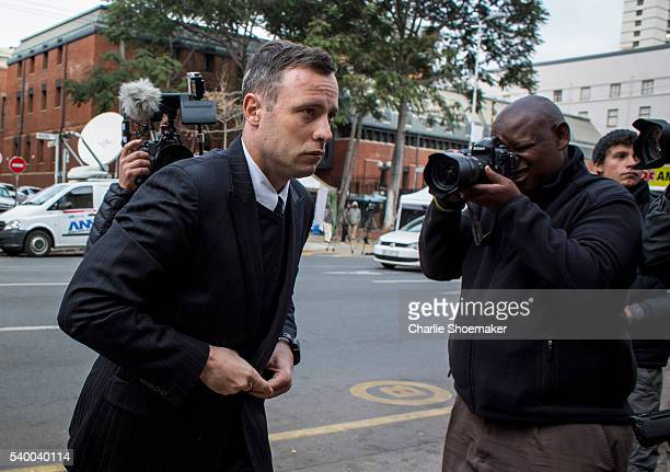 Oscar Pistorius arrives at North Gauteng High Court on June 14, 2016 in Pretoria, South Africa. Having had his conviction upgraded to murder in...