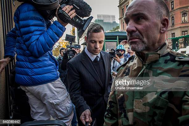 Oscar Pistorius arrives at North Gauteng High Court on June 15, 2016 in Pretoria, South Africa. Having had his conviction upgraded to murder in...