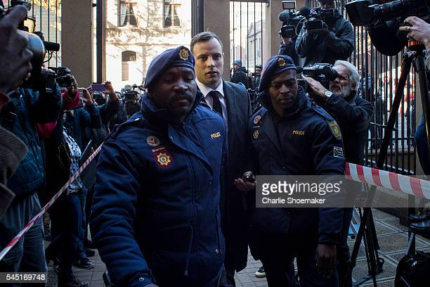 Oscar Pistorius arrives at the North Gauteng High Court on July 6 2016 in Pretoria South Africa Following last month's presentencing hearing...