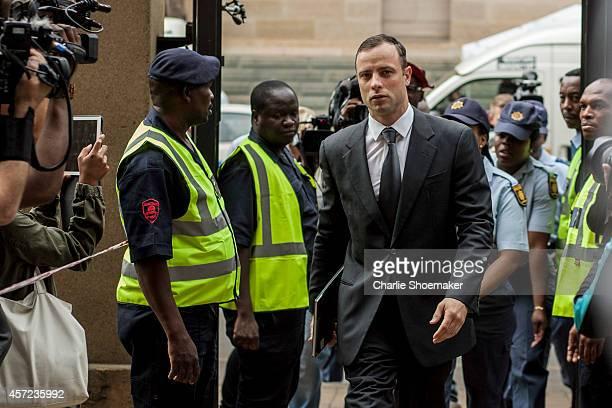 Oscar Pistorius arrives atNorth Gauteng High Court on October 15, 2014 in Pretoria, South Africa. Pistorius will be sentenced having been found...