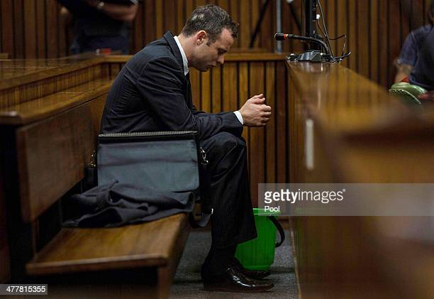 Oscar Pistorius at the Pretoria High Court on March 11 in Pretoria, South Africa. Oscar Pistorius, stands accused of the murder of his girlfriend,...