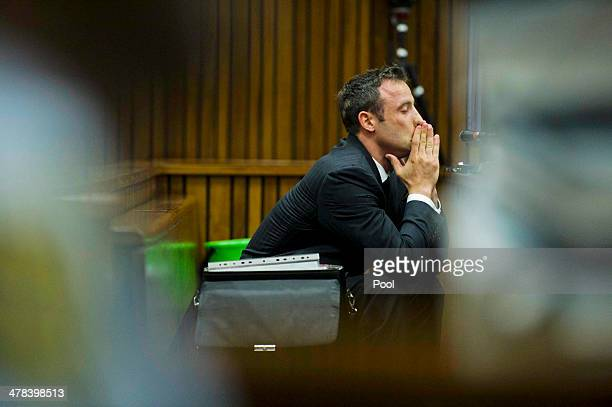 Oscar Pistorius at the Pretoria High Court on March 13 in Pretoria, South Africa. Pistorius, stands accused of the murder of his girlfriend, Reeva...