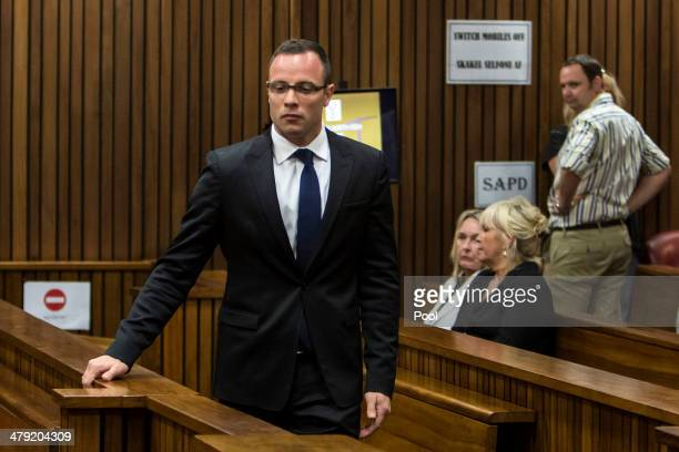 Oscar Pistorius at the Pretoria High Court on March 17 in Pretoria, South Africa. Oscar Pistorius, stands accused of the murder of his girlfriend,...