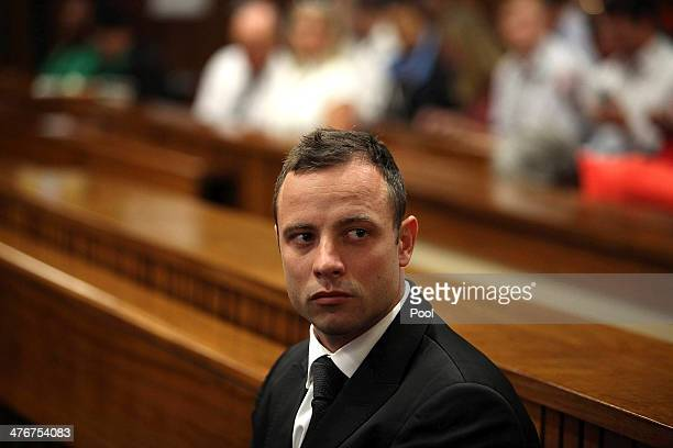 Oscar Pistorius at the Pretoria High Court on March 5 in Pretoria, South Africa. Oscar Pistorius, stands accused of the murder of his girlfriend,...