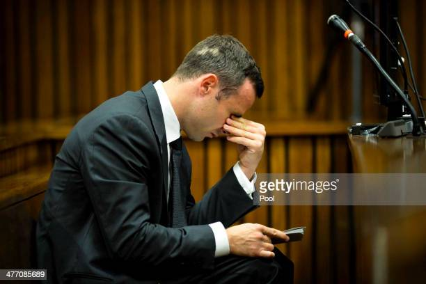 Oscar Pistorius at the Pretoria High Court on March 7 in Pretoria, South Africa. Pistorius, stands accused of the murder of his girlfriend, Reeva...