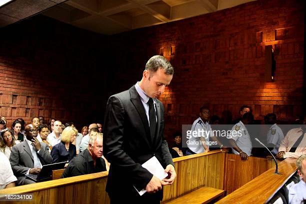 Oscar Pistorius at the Pretoria magistrate's court on February 20 in Pretoria, South Africa. Pistorius is accused of murdering his girlfriend, Reeva...