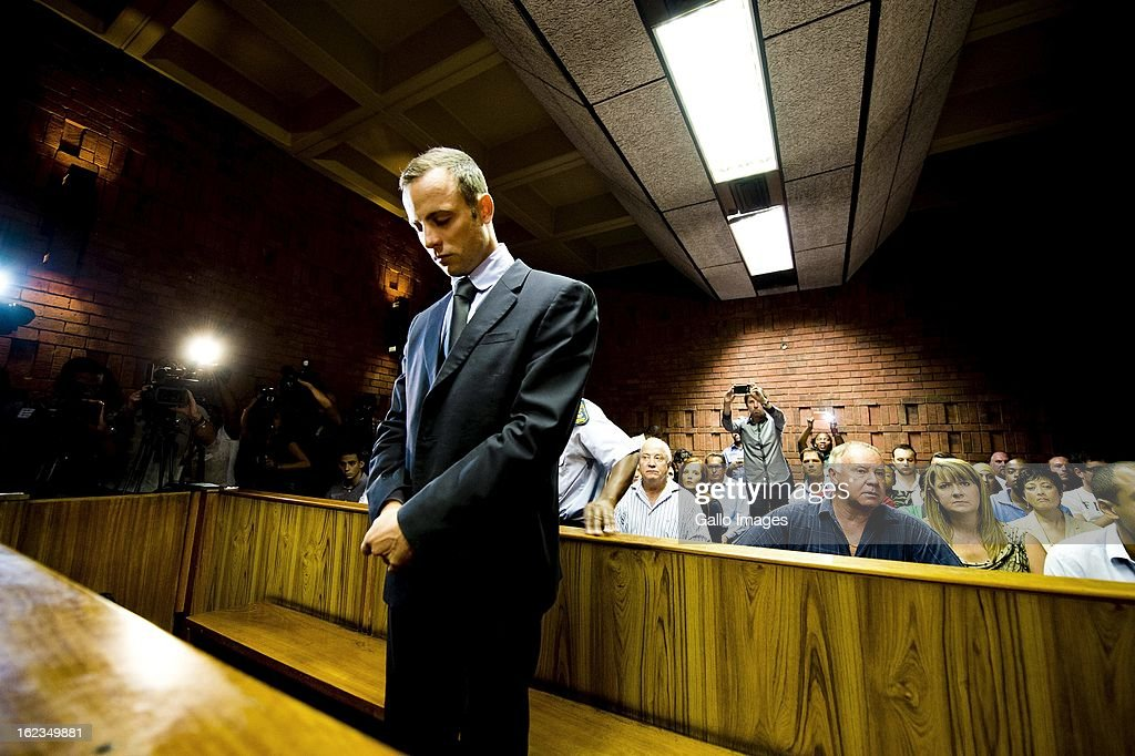 Oscar Pistorius at the Pretoria Magistrates court on February 22, 2013, in Pretoria, South Africa. Pistorius is accused of the murder of Reeva Steenkamp on February 14, 2013. This marks day 4 of his bail hearing.