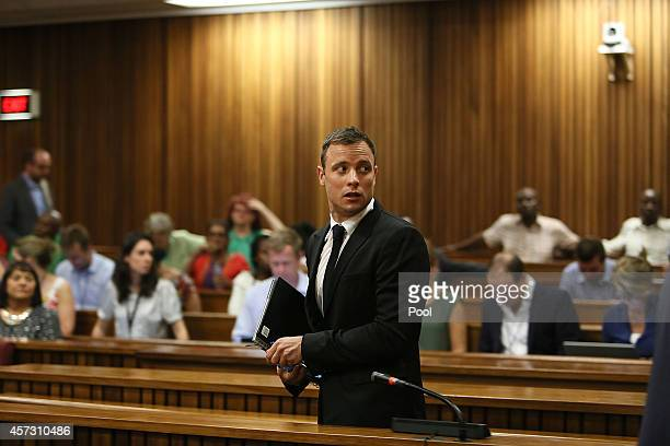 Oscar Pistorius attends his sentencing hearing in the Pretoria High Court on October 16 in Pretoria, South Africa. Judge Thokozile Masipa found...