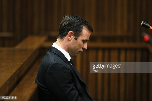 USE Oscar Pistorius during his appearance at the High Court on 18 April 2016 in Pretoria South Africa for a postponement of his sentencing hearing...