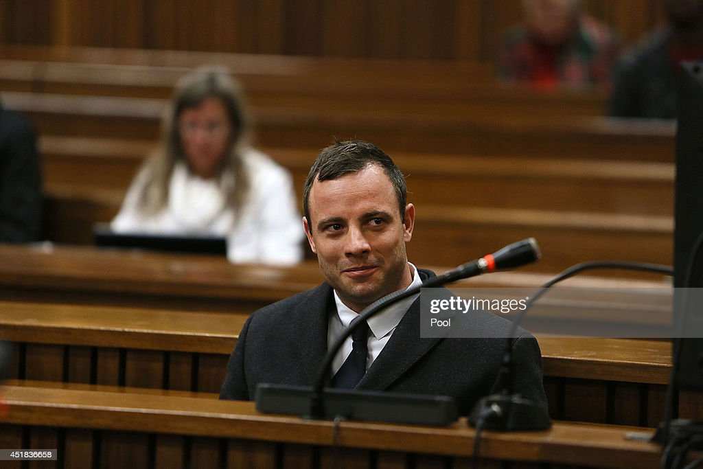 Oscar Pistorius during his murder trial at the Pretoria High Court on July 8, 2014, in Pretoria, South Africa. Oscar Pistorius, stands accused of the murder of his girlfriend, Reeva Steenkamp, on February 14, 2013. This is Pistorius' official trial, the result of which will determine the paralympian athlete's fate.