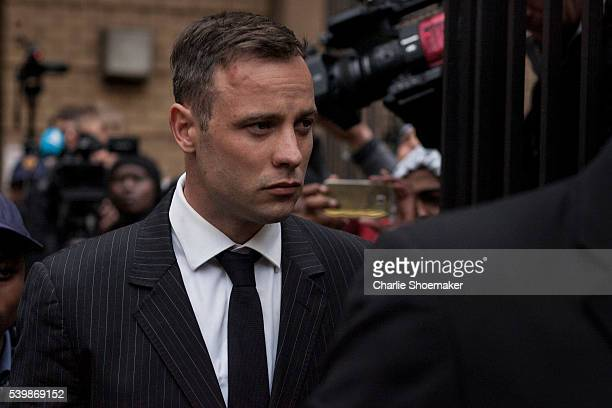 Oscar Pistorius leaves the North Gauteng High Court after the finish of his first of sentencing on June 13, 2016 in Pretoria, South Africa. Having...