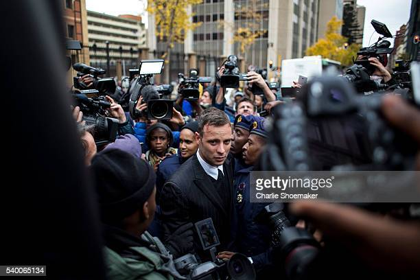Oscar Pistorius leaves the North Gauteng High Court on June 14, 2016 in Pretoria, South Africa. Having had his conviction upgraded to murder in...