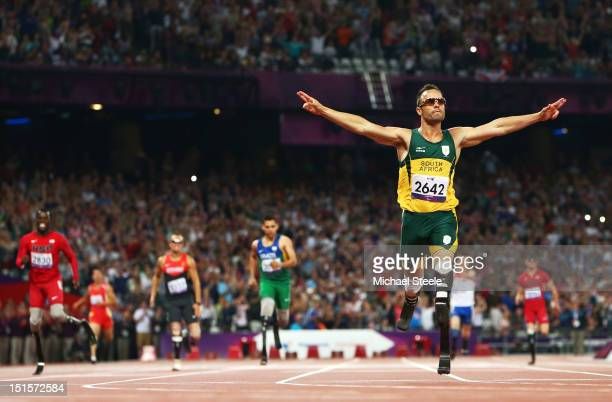 Oscar Pistorius of South Africa celebrates as he wins gold in the Men's 400m T44 Final on day 10 of the London 2012 Paralympic Games at Olympic...