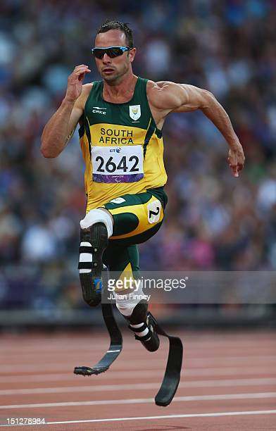 Oscar Pistorius of South Africa competes in the Men's 100m T44 heats on day 7 of the London 2012 Paralympic Games at Olympic Stadium on September 5...