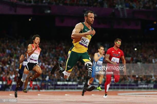Oscar Pistorius of South Africa competes in the Men's 200m T44 heats on day 3 of the London 2012 Paralympic Games at Olympic Stadium on September 1...