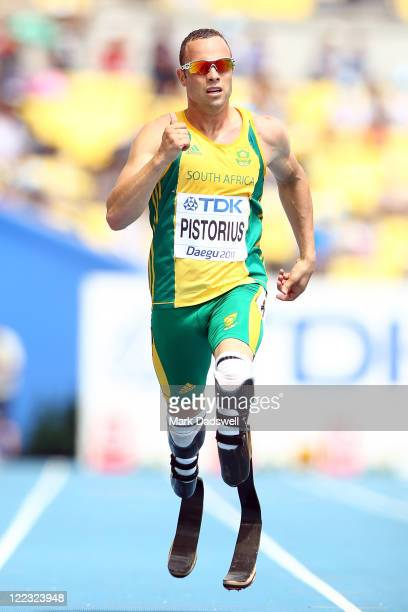 Oscar Pistorius of South Africa competes in the men's 400 metres heats during day two of the 13th IAAF World Athletics Championships at the Daegu...