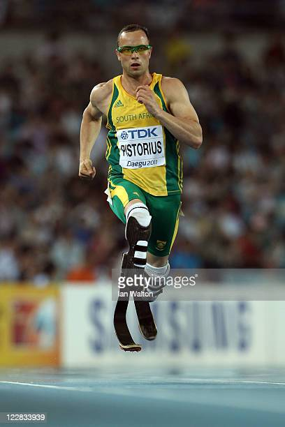 Oscar Pistorius of South Africa competes in the men's 400 metres semi finals during day three of the 13th IAAF World Athletics Championships at the...